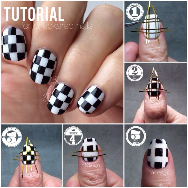 Tutorial for checkered nails