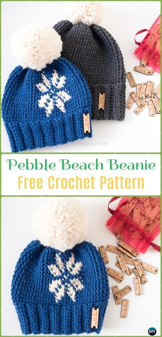 Crochet Pebble Beach Beanie Hat Free Pattern - Crochet Beanie Hat Free  Patterns 1bbe45d7dca