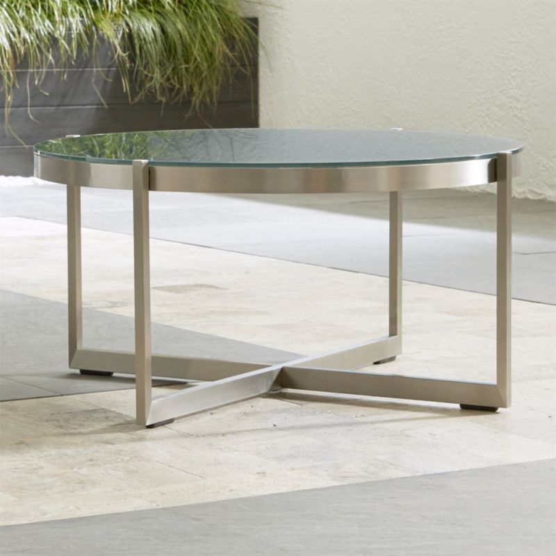 Dune round coffee table with charcoal painted glass