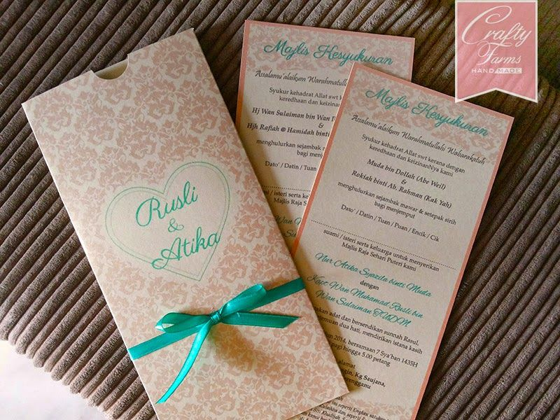 Wedding Card Malaysia | Crafty Farms Handmade : Damask Pocket ...