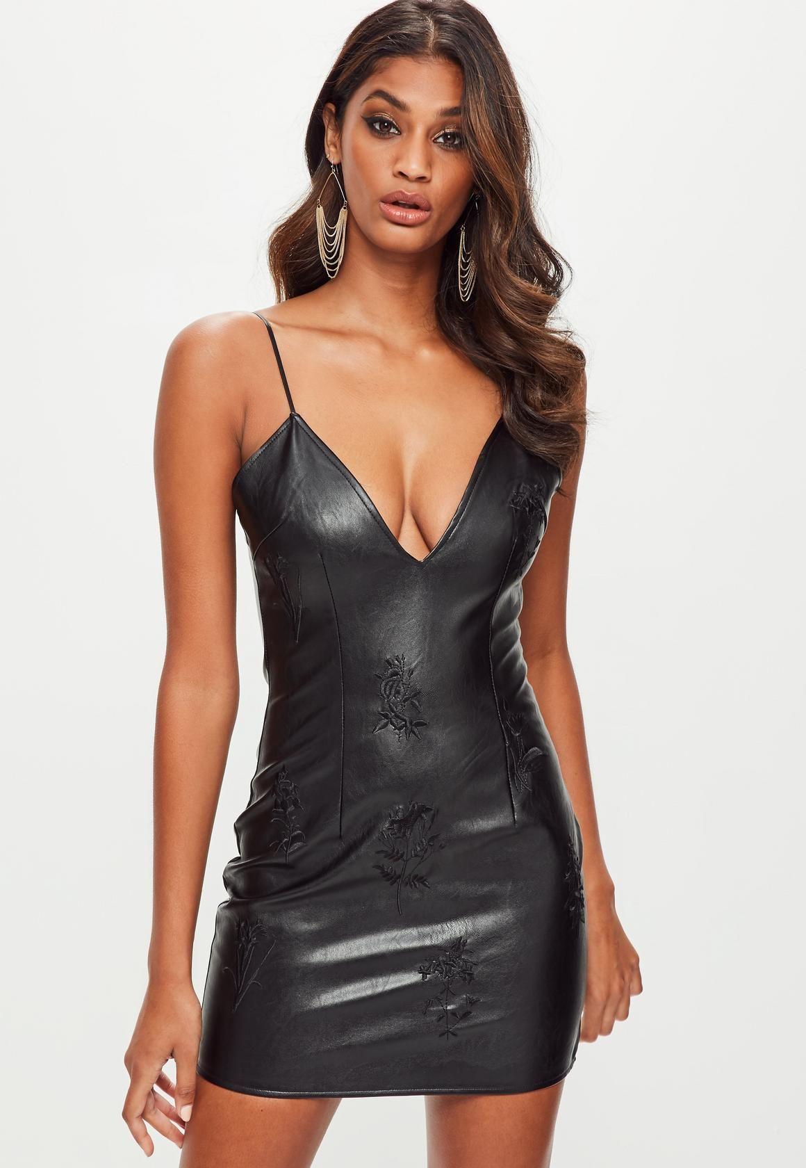 Missguided Black Faux Leather Embroidered Plunge Bodycon Dress Asiatische Schonheit Schonheit Leder [ 1680 x 1160 Pixel ]