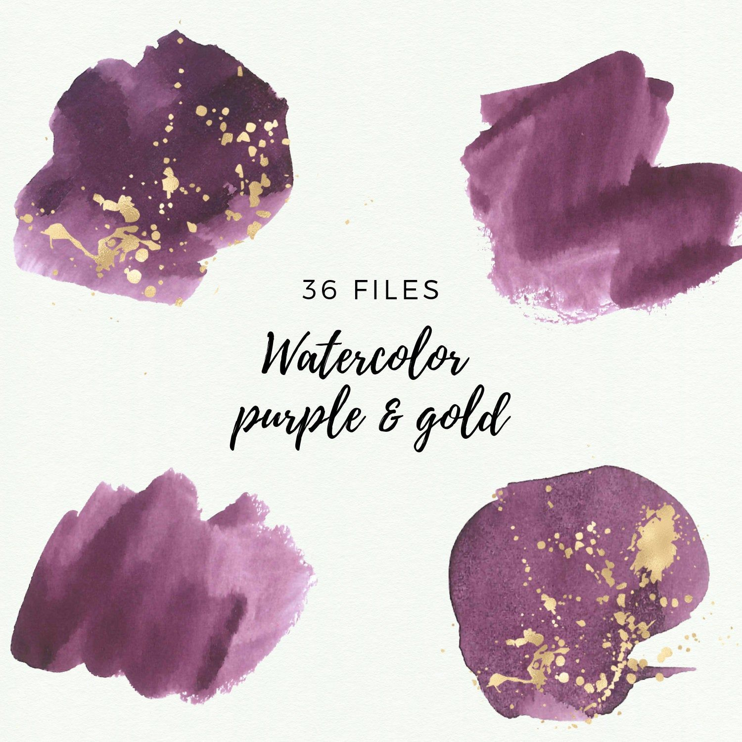 Gold And Purple Watercolor Splash Clipart Purple Watercolor Brush