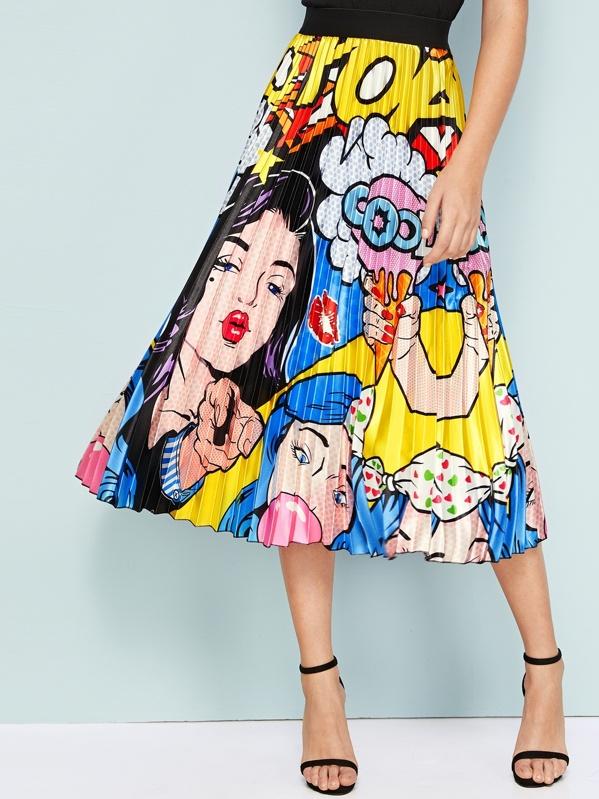 Rock Mit Karikatur Und Figur Muster Shein In 2020 Faltenrock Modestil Pop Art