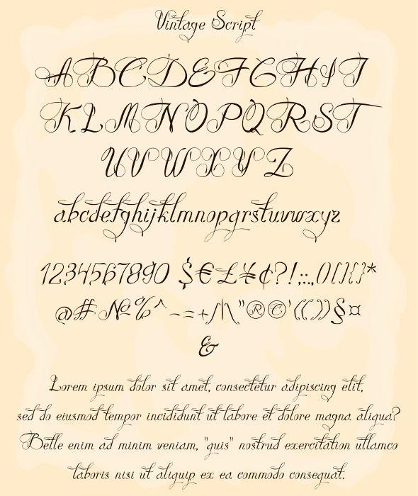 Vintage Script Is An Handwriting Font Designed To Be Clear And Legible Elegant Font Style Is Per Tattoo Fonts Cursive Cursive Fonts Alphabet Cursive Alphabet