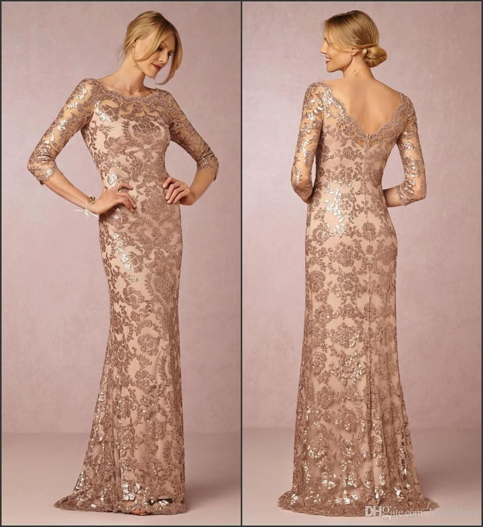 Long Sleeve Elegant Mother of Bride Gowns 2017 Rose Gold with Lace ...