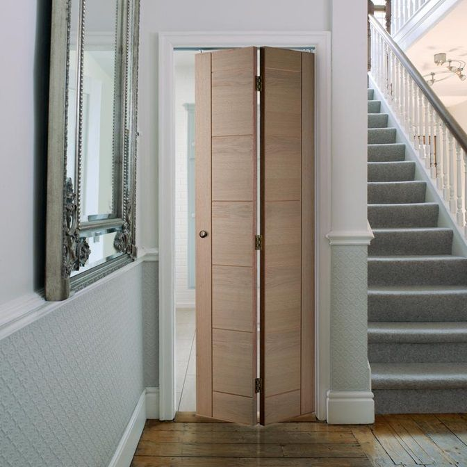 Linear Oak Bi-fold | Folding doors interior, Folding ...