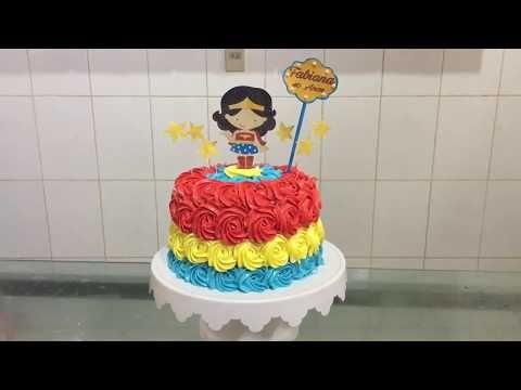 Live no grupo  bolo mulher maravilha c  papel arroz especial e jady  confeitos - YouTube 14ae0ee0727