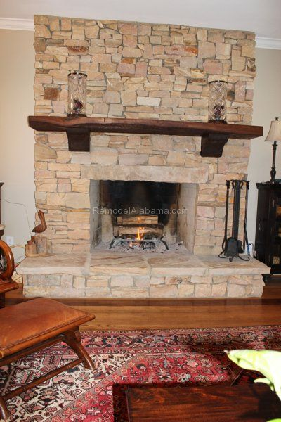 Alabama Sandstone Hearth, Recycled Mantel, Corbels Made From Sustainable  Cypress, Wood Burning