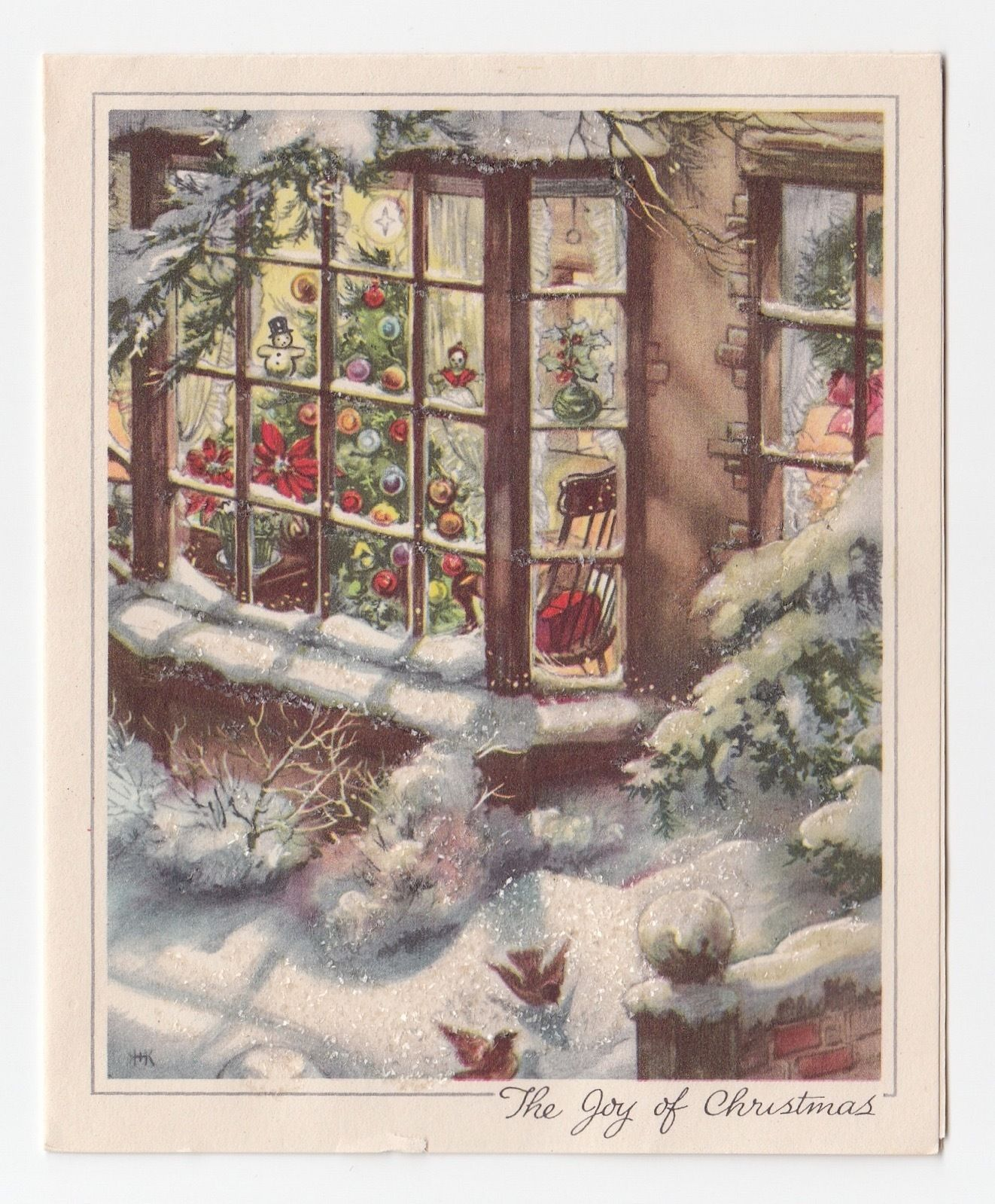 Vintage holiday windowscape painting looks like perhaps an old vintage holiday windowscape painting looks like perhaps an old greeting card kristyandbryce Images