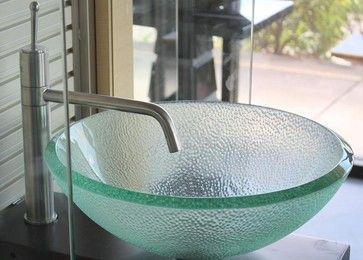 16 5 Inch Clear Bubble Texture Exterior Glass Bathroom Vessel Bowl Sink Modern Bathroom Sinks Bathroom Sink Bowls Modern Bathroom Sink Glass Bathroom Sink