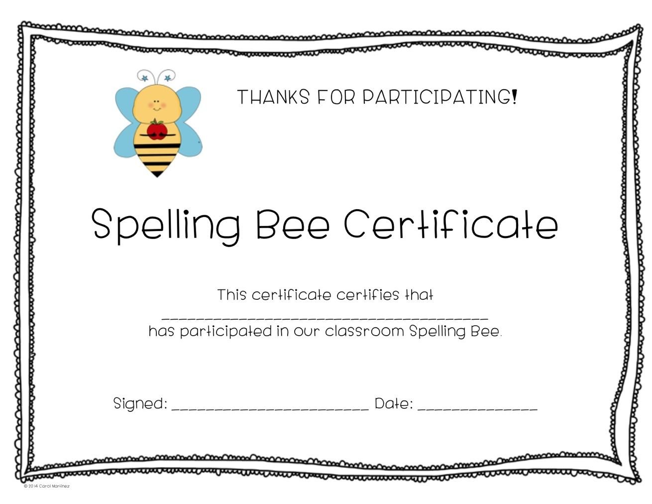 Spelling Bee Certificate {FREEBIE!} Enjoy! | ThirdGradeTroop.com ...