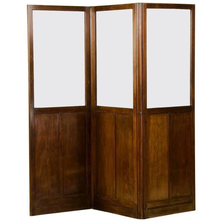Antique English Mahogany and Glass Folding Room Screen circa 1860