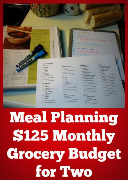 $125 Monthly Grocery Budget for Two Budgeting, Meals and Foods - budget plan template example