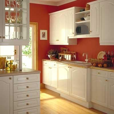 Thinking about painting my cabinets white and my walls red in the ...
