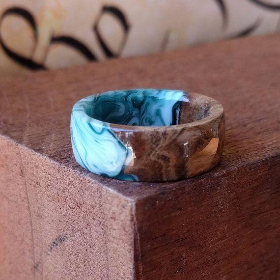 Holzring Resin Ring Oceanic Blue Beachy Holzringe Fur