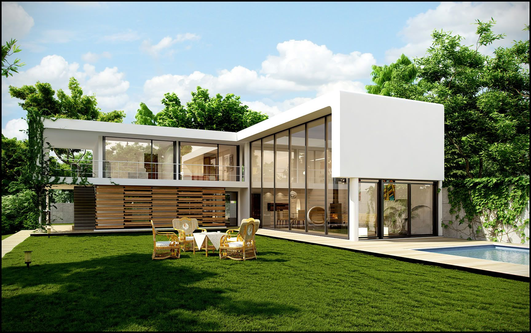 Architecture exterior impressive l shape small modern house designs with green area grass garden New build house designs