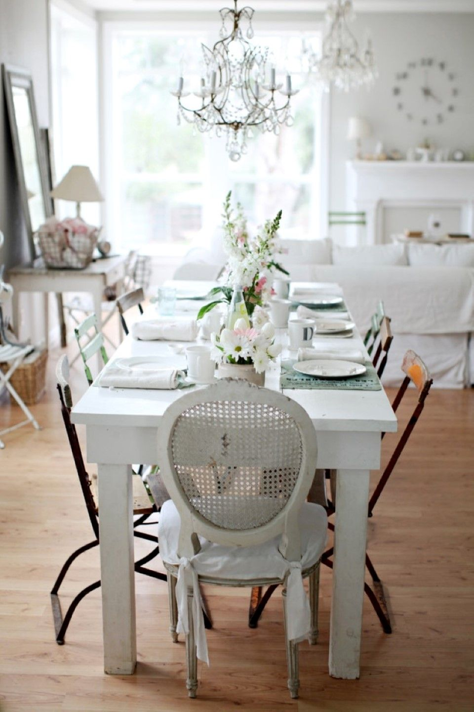 Crystal Chandelier With Rustic Chic White Dining Room Decor Plus Laminate Floor Also French Window