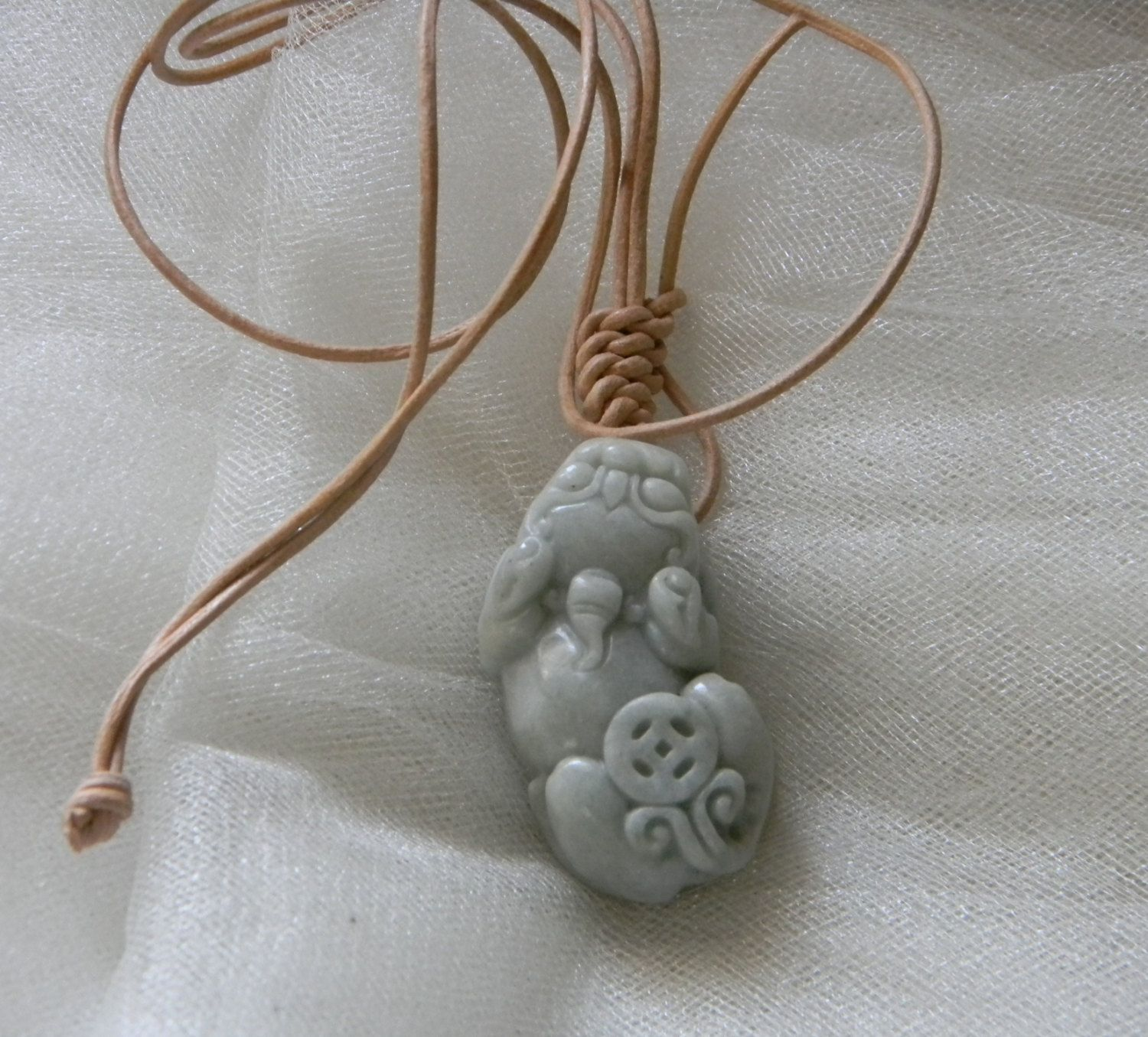 Jade fu dog pendant w leather cord necklace guardian lion jade fu dog pendant w leather cord necklace guardian lion protection talisman shishi aloadofball Images