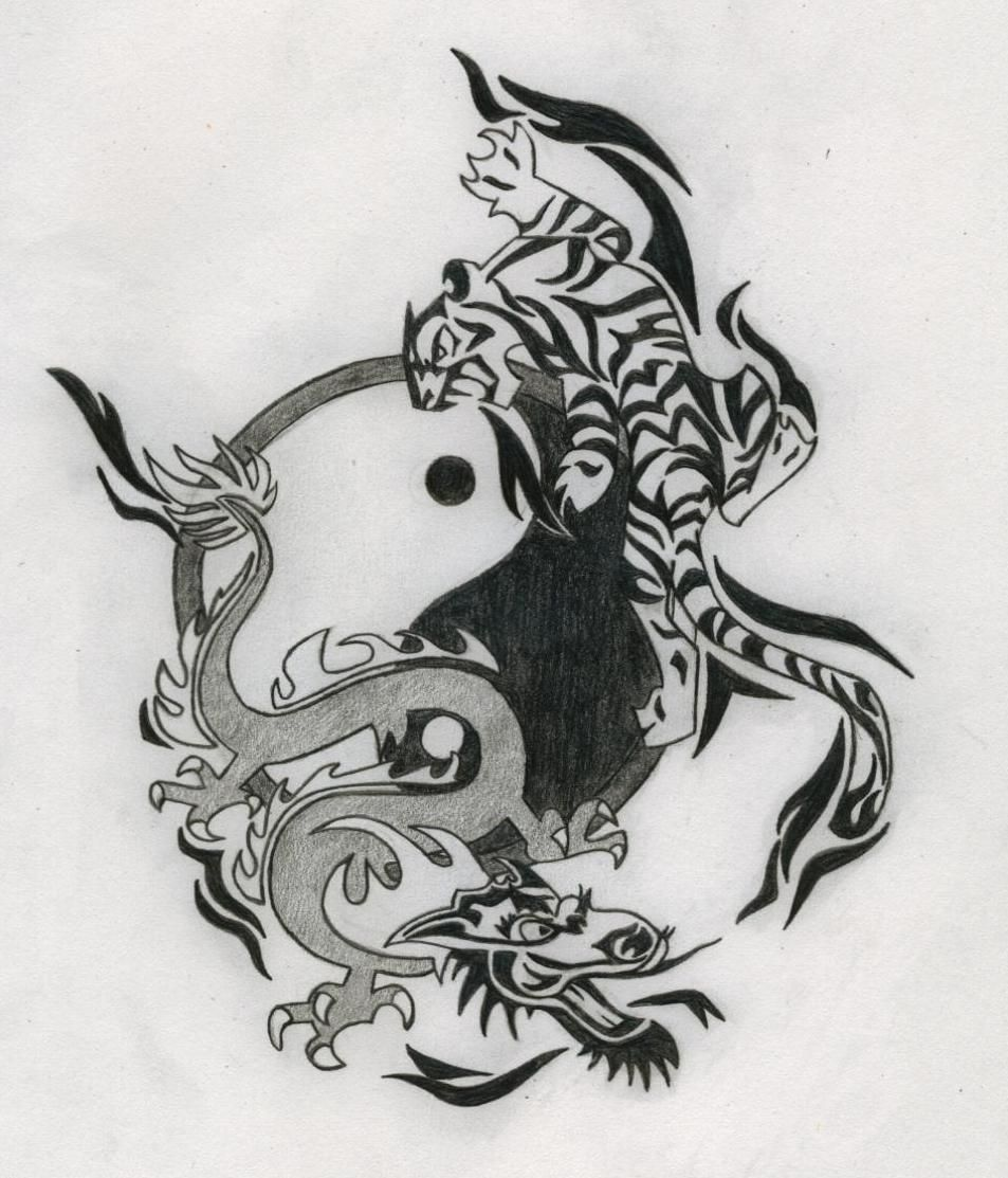 tattoo drawings | Yin Yang Dragon Tiger Tattoo Drawing | tattoo ...