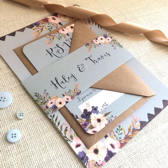 Floral Bleu Wedding Invitation With Matching RSVP