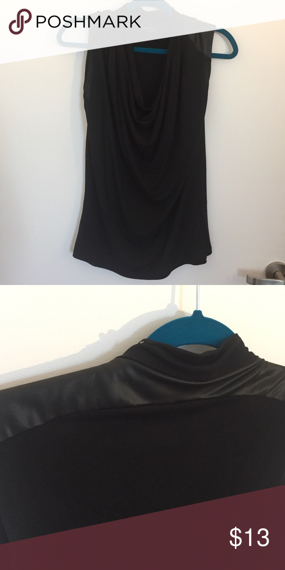 Zara W&B collection Sleeveless top with leather like on the shoulder. Main fabric 100% Lyocell second fabric 92% polyester 8% elastane Zara Tops Blouses