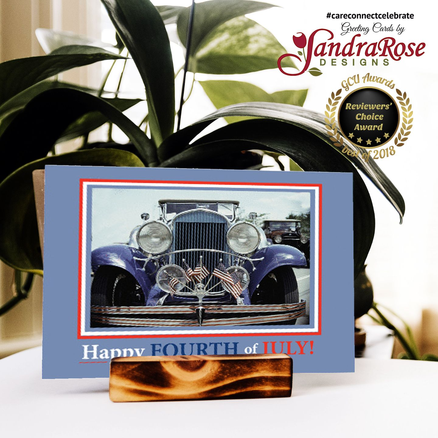 Happy Fourth of July with Classic Car and American Flags card