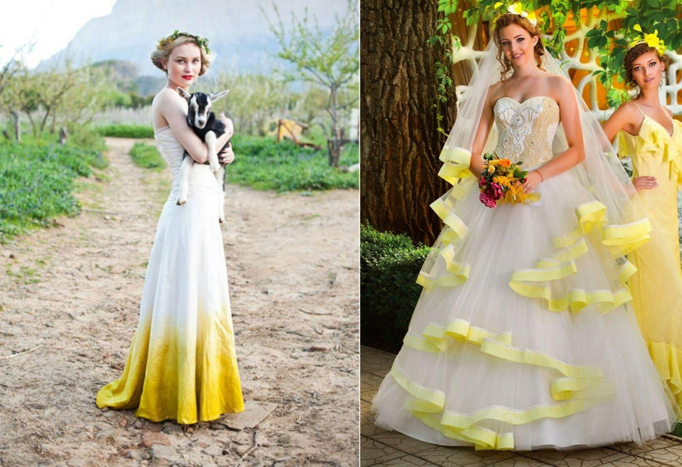 Gelb als Akzent im weißen #Brautkleid für Ombre-Effekt oder für