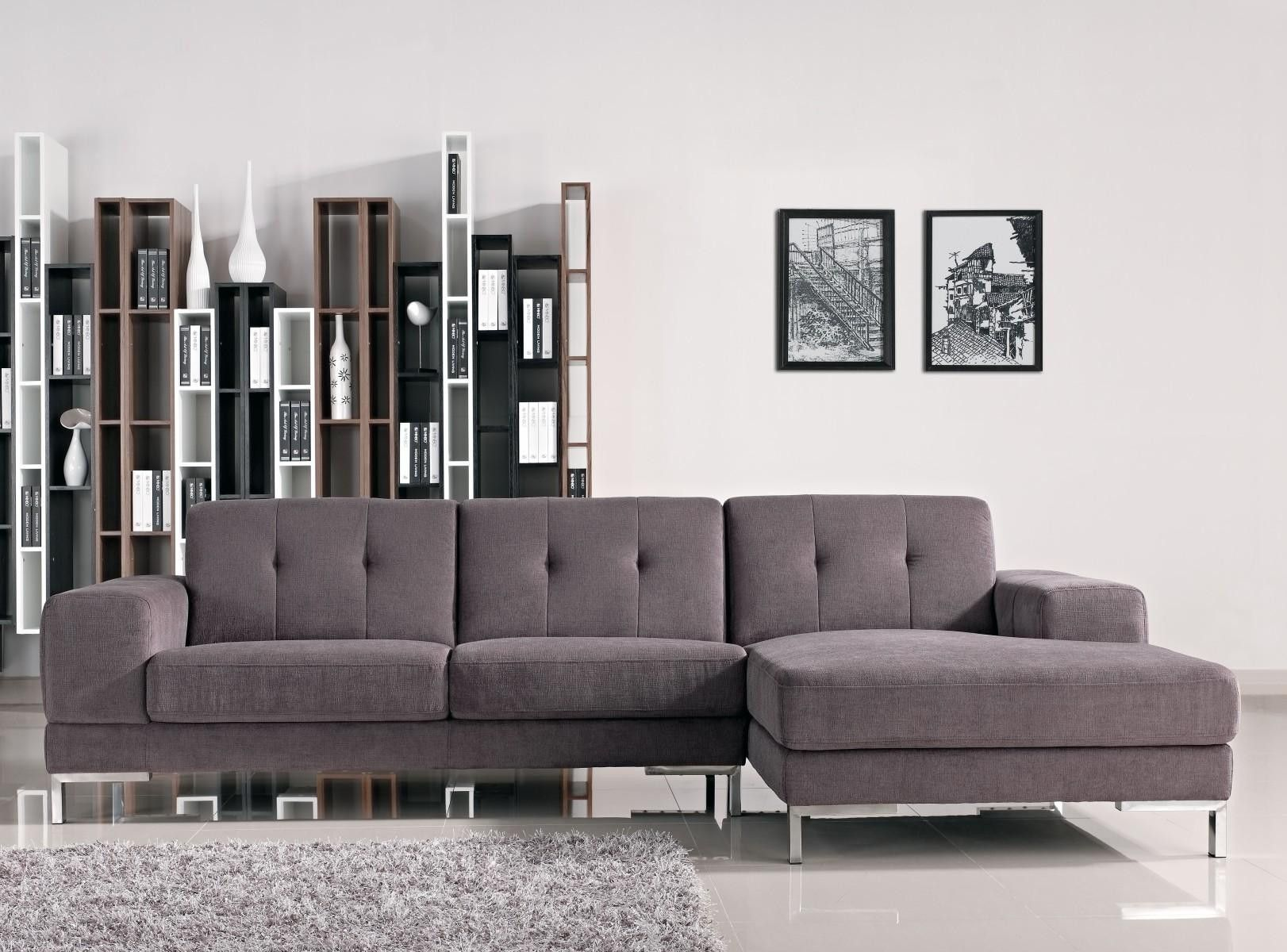 Divani Casa Forli Modern Fabric Sectional Sofa With Right Facing