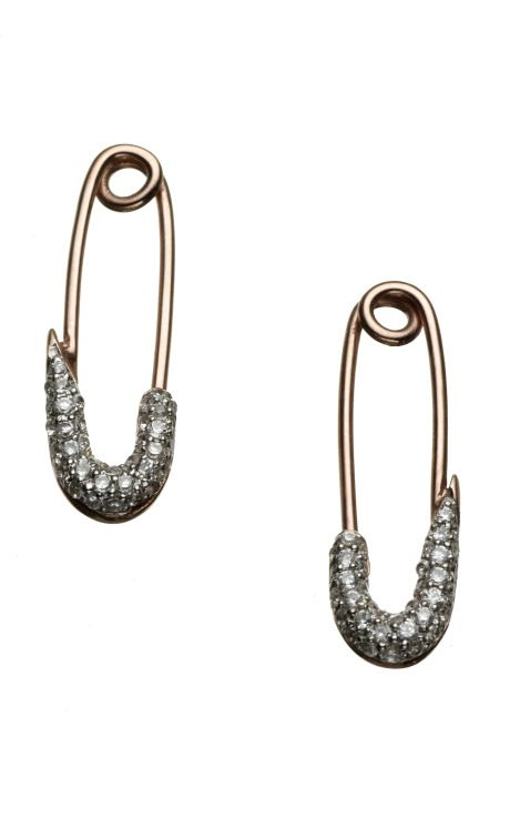 Shop Talon Safety Pin Earrings by Genevieve Jones - Moda Operandi