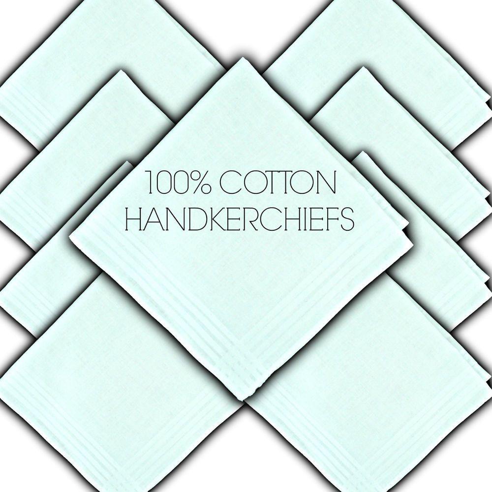 "100/% PURE COTTON HANDKERCHIEFS SATIN BORDER WHITE 11/"" 29½CM LADIES HANKIE HANKY"