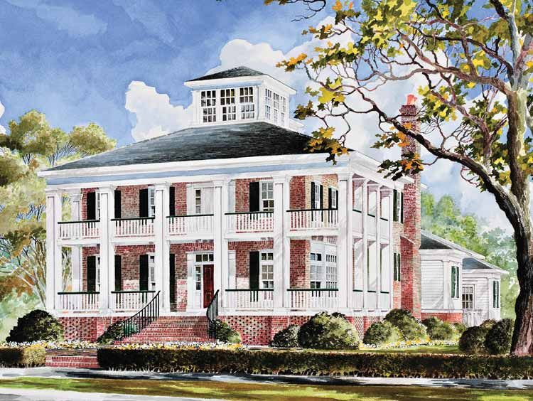 Wrap around porch red brick black shutters white Brick home plans with wrap around porch