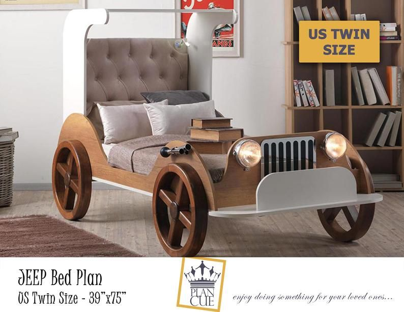 Jeep Car Bed Plan Twin Bed Frame Plan Wooden Toddler Bed Etsy