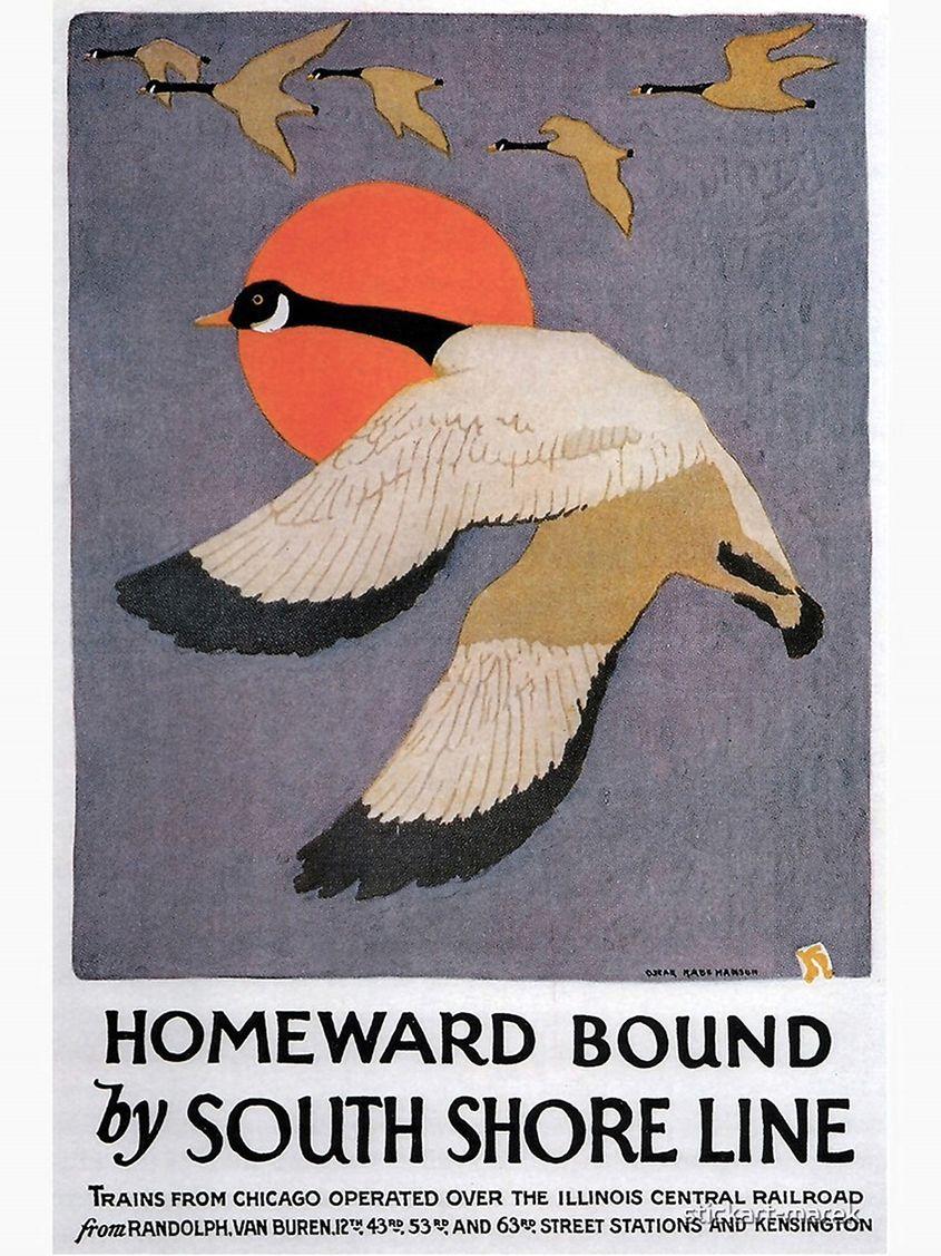 Evanston Lighthouse North Shore Line Vintage Poster 24 X 36