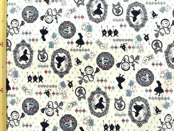 Black 100/% Cotton Alice and Friends Kokka Japanese Fabric