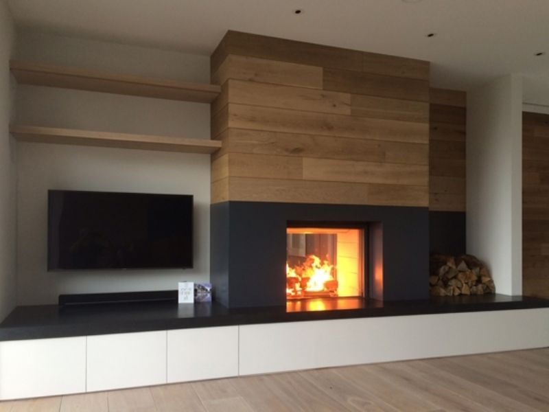 The Second Of Two Stuv Inset Fires Installed Into Bespoke Units