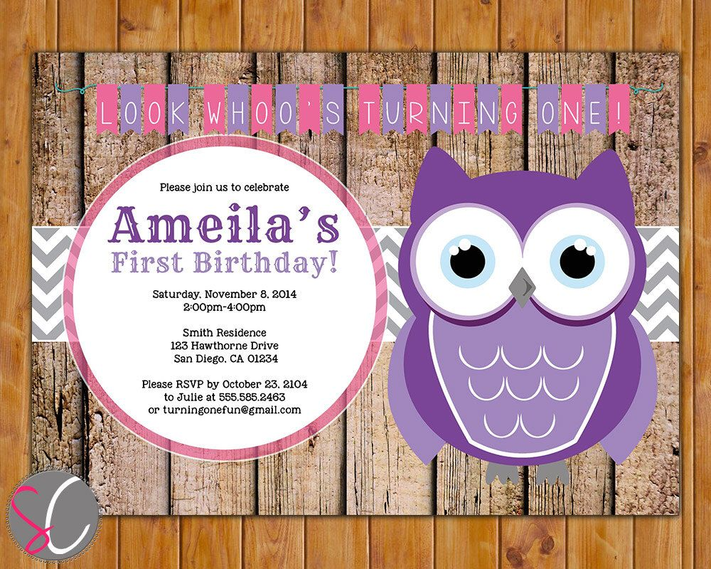 Owl Look Whoo\'s Turning One First Birthday Party Invitation ...