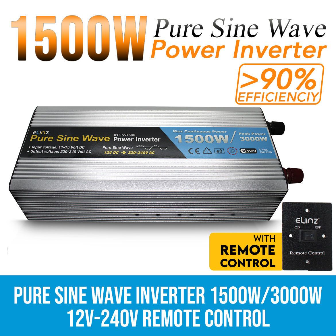 Pure Sine Wave Power Inverter 1500w 3000w 12v 240v Aus Plug Remote Control In 2020 Power Inverters Sine Wave Remote Control