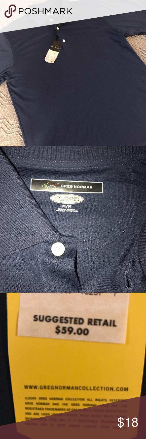Nwt Greg Norman Playdry Golf Shirt Navy Blue Golf Shirts Clothes Design Navy Blue Color