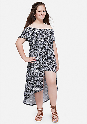 96673bed3bd Printed High Low Maxi Romper