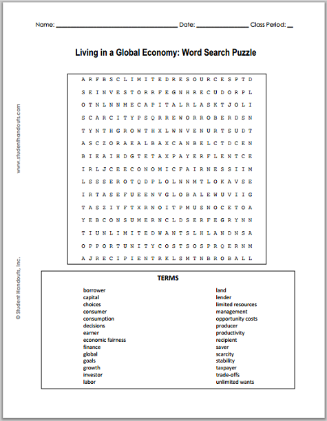 Living In A Global Economy Word Search Puzzle Free To Print Pdf