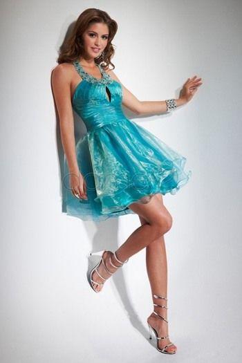 Organza Perlen Ballmode Rüschen kurzes ärmelloses aufgeblähtes Homecoming Kleid