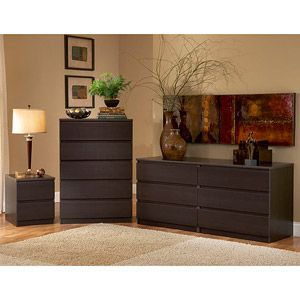 Elegant Simple, Cheap Bedroom Furniture   Laguna Double Dresser, Chest And  Nightstand Set, Lacquered Espresso