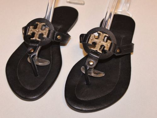 Authentic Black TORY BURCH Gold Logo Miller Leather Flip Flops Sandals Sz 7Our price: $79.00http://2tymingthreads.com/index.php?l=532421