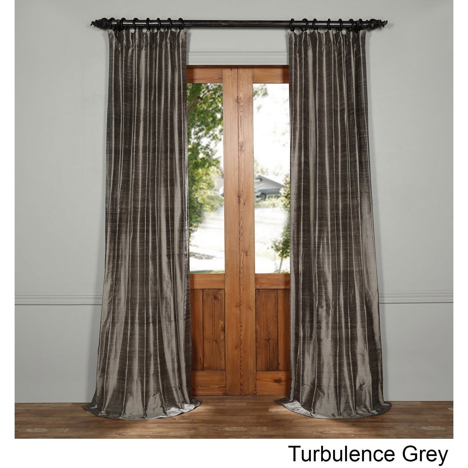 vintage overstock curtain silver garden silk textured exclusive shipping dupioni fabrics product curtains free today panel home faux