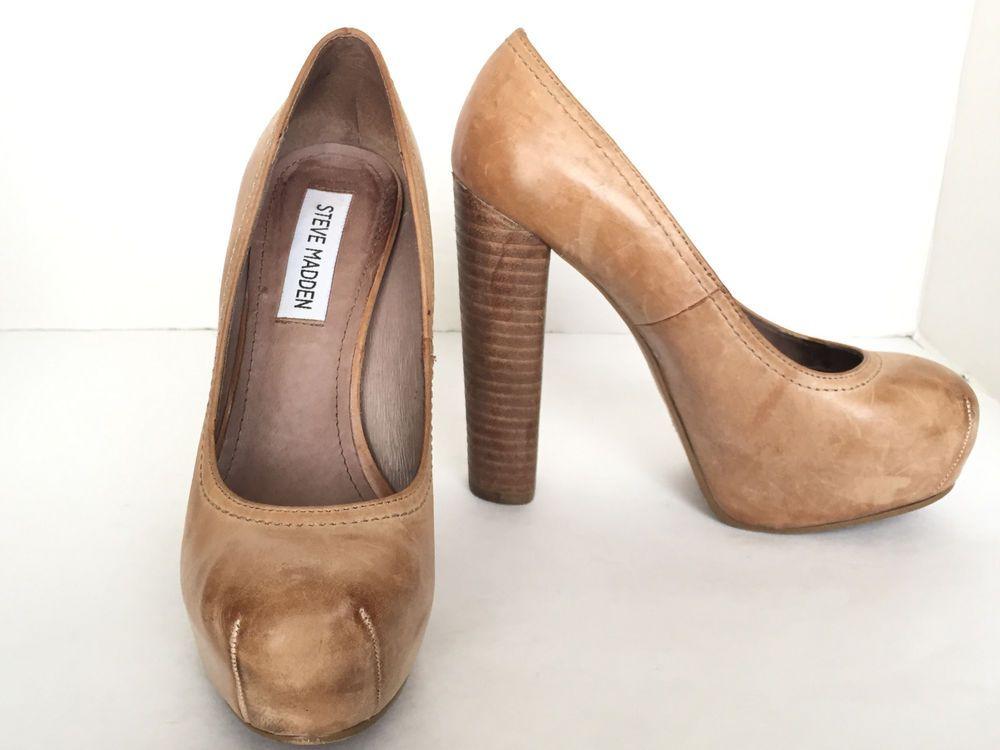 de05c7630028 Steve Madden Distressed Leather Tan High Chunky Heel Pumps Size US 5.5 M   SteveMadden  PumpsClassics  Clubwear