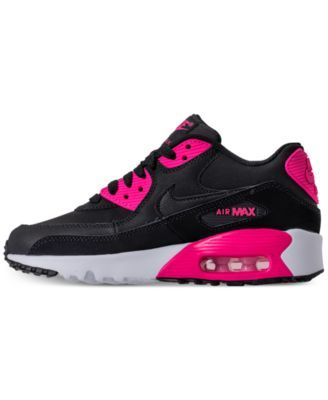 1ab9e3318113 Nike Girls  Air Max 90 Leather Running Sneakers from Finish Line - Black 6