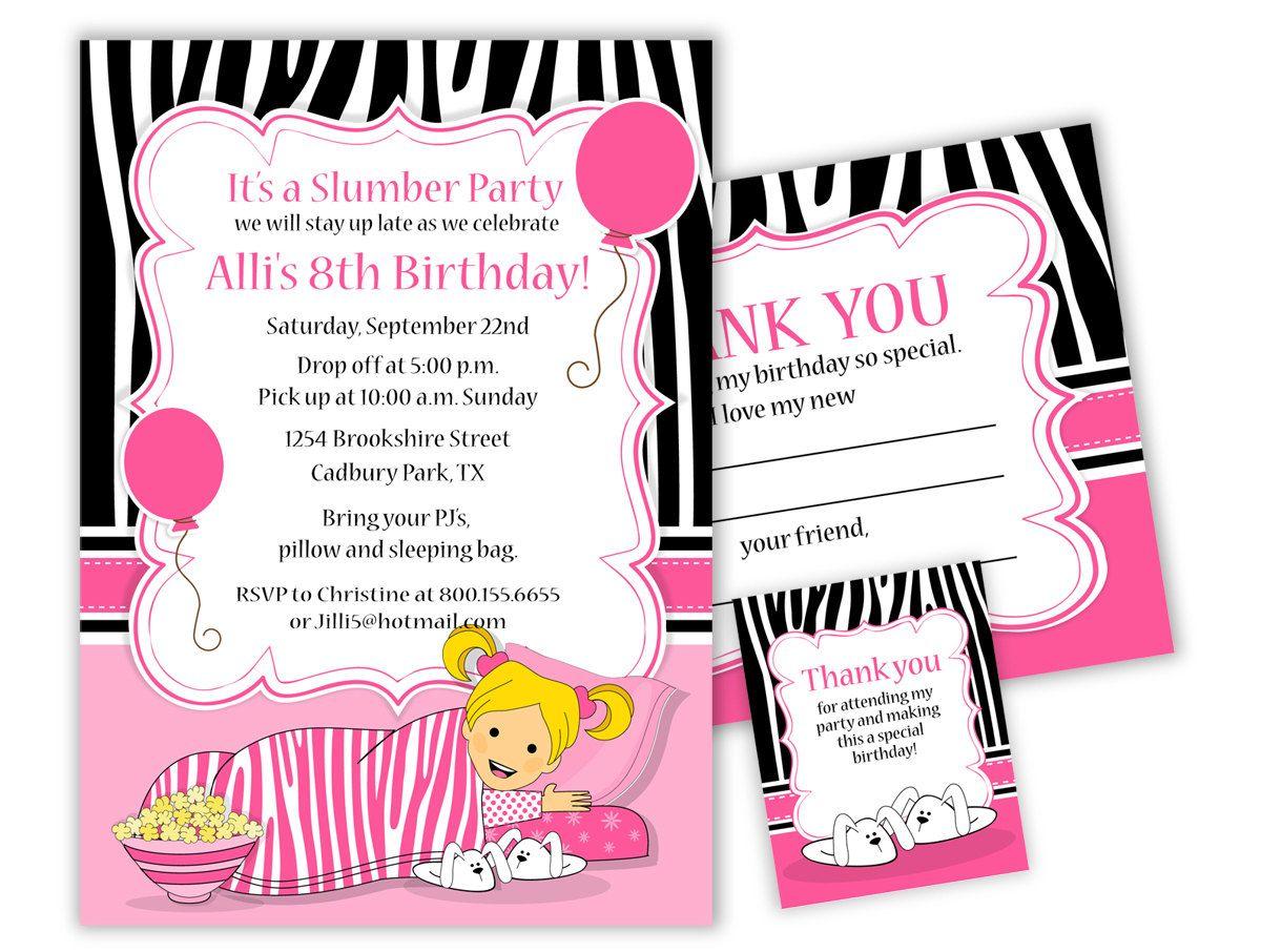 Slumber Party Birthday Invitation and party items - digital ...