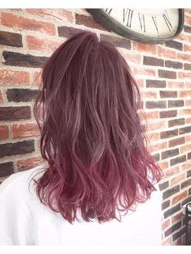 外国人風 フェミニティピンクアッシュ グラデーションカラー 髪色