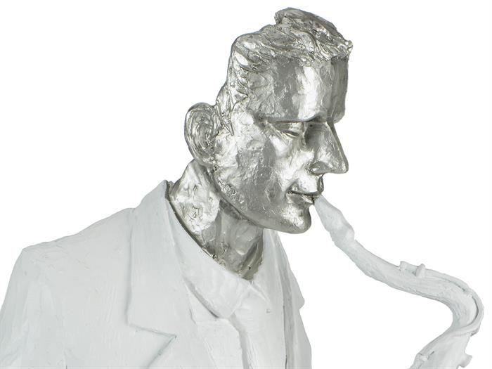 DEKO-OBJEKT - Büste Musiker mit Saxophon Höhe 42cm - silber weiß