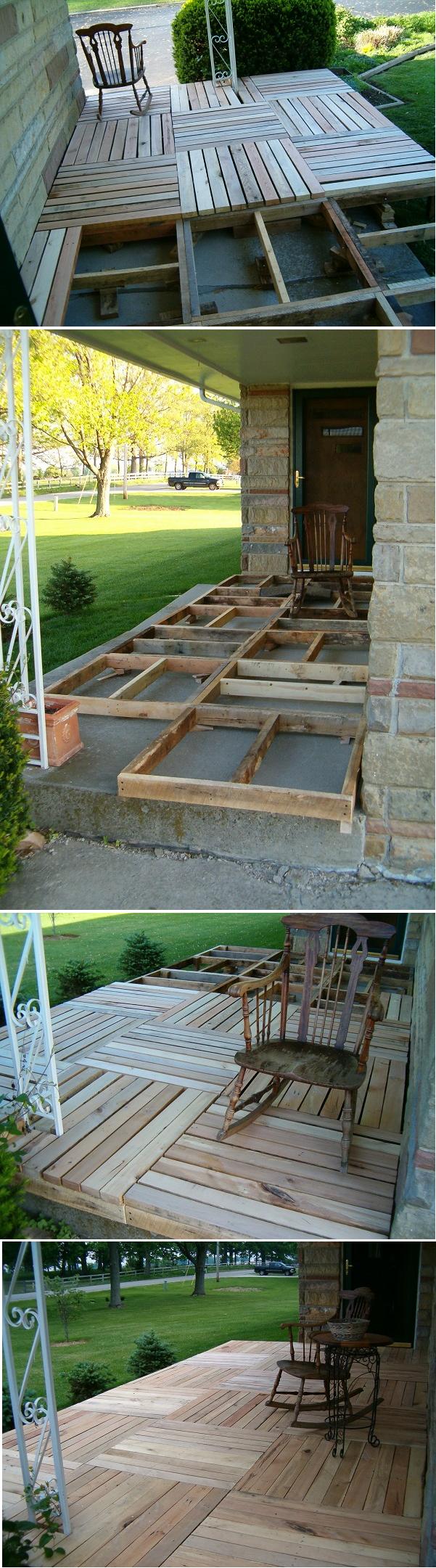Diy Pallet Wood Front Porch Palets Decoración De Unas